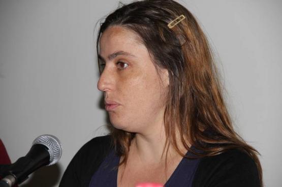 Ines Zuber van de Portugese Communistische Partij (foto Solidair - Martine Raeymaekers)