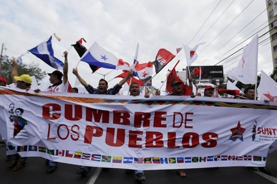 In april kwamen zo'n 2.000 vertegenwoordigers van sociale bewegingen samen in Panama voor de Top van de Volkeren, die plaatsvond in de marge van Top van de Amerika's.  (Foto Reuters)