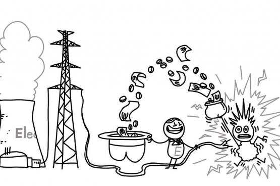 De kerncentrales van Electrabel mogen langer openblijven. Wij betalen de rekening. (Tekening Rudi Mertens)