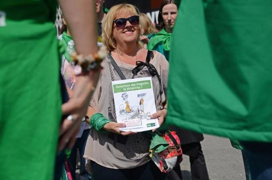 Gigi (Ghislaine) Marie op een manifestatie tegen zondagwerk in de distributiesector. (Foto Solidair, Vinciane Convens)