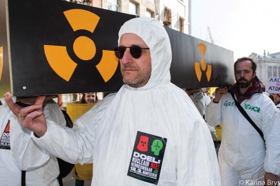 """De kernenergielobby probeert de  mensen wijs te maken dat niks veiliger is dan een kerncentrale. """"Terwijl niks onze veiligheid meer bedreigt"""", zegt Marc Alexander. (Foto Solidaire, Karina Brys)"""