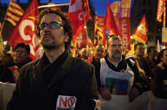 In Spanje ontketende de arbeidsmarkthervorming van 2012 een grote beweging, met onder andere een algemene staking op 29 maart 2012. Foto: mobilisatie in Barcelona. (Foto Javier Carbajal - Imagen en Acción / Flickr)