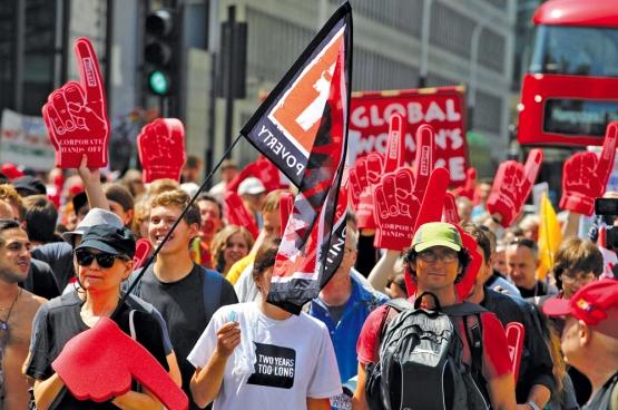 Reeds in 2014 was er in Londen een betoging tegen het TTIP-verdrag. (Foto Global Justice Now)