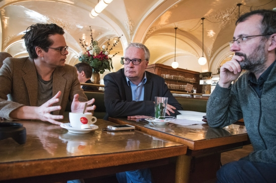 Thomas Decreus, Peter Mertens en Christophe Callewaert. (Foto Solidair, han Soete)