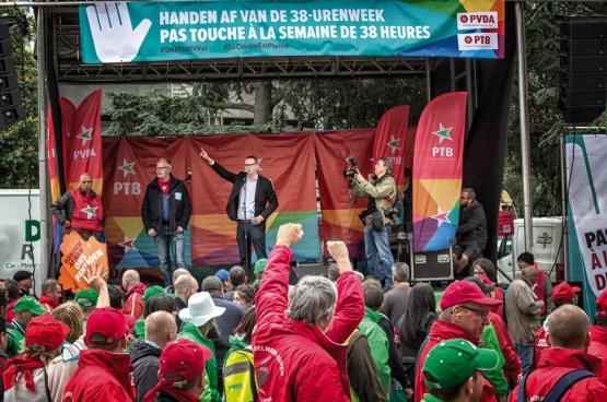 Op 24 mei betoogden tienduizenden mensen tegen de wet-Peeters. (Foto Solidair, Salim Hellalet)