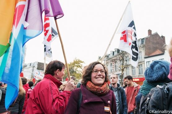 Lise Vandecasteele, OCMW-raadslid van de PVDA (Foto Karina Brys / Solidair )