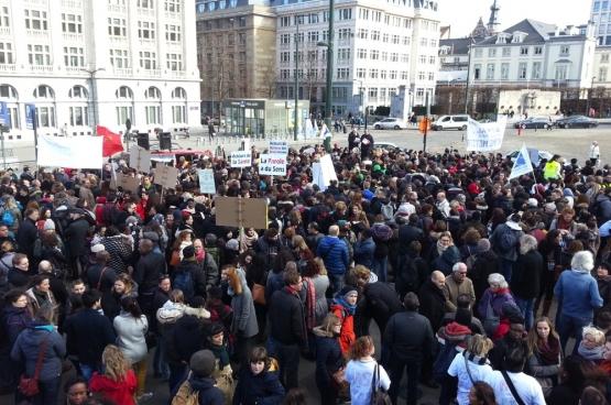 Actie van het middenveld tegen het uithollen van het beroepsgeheim op 16 februari 2017 in Brussel (Foto Ivo Flachet)