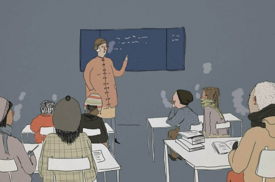 Toen de leerlingen in actie kwamen, kon er plots wel iets gedaan worden de klassen te verwarmen. (Cartoon Solidair, Jasmine Elsen)