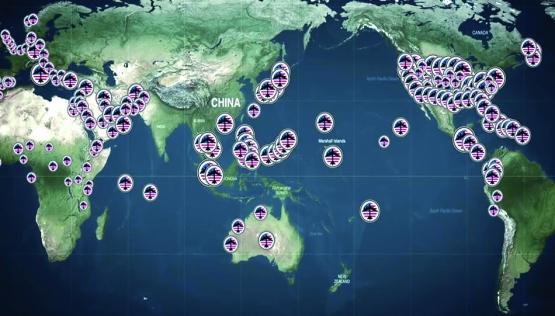 De militaire basissen  van de VS over de hele wereld.