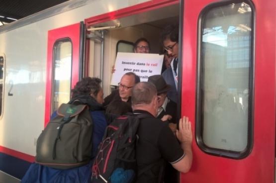 Op 23 augustus werd actie gevoerd tegen de minimumdienstverlening bij de NMBS. (Foto Belga)