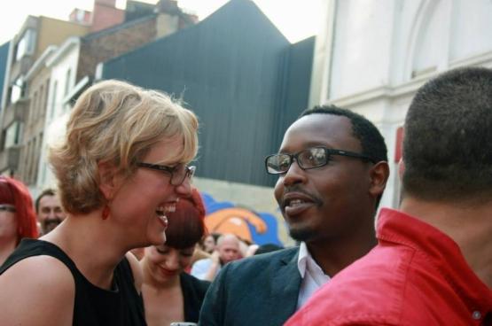 Sofie Merckx, gemeenteraadslid sinds 2012, en Germain Mugemangango, voorzitter van PVDA Charleroi.