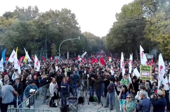 Betoging op 18 november. (Schermafbeelding CGTP)