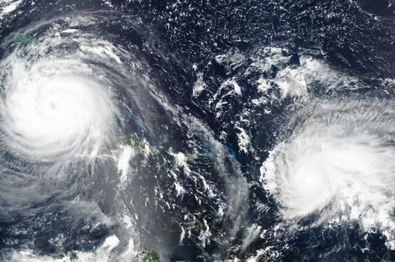 De orkanen Irma en Jose in 2017. (Foto NASA / SNPP / VIIRS)