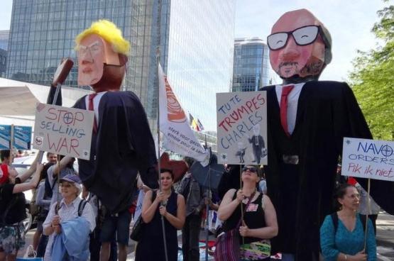 Op 24 mei 2017 kwamen in Brussel duizenden mensen op straat om te protesteren tegen de komst van Trump. (Foto G3W / Twitter)