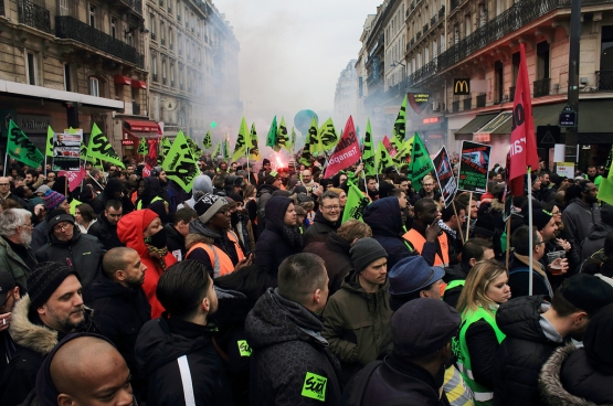 Manifestatie van het spoorwegpersoneel op 22 maart 2018 in Parijs (foto Alternative Libertaire, Flickr)