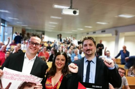 Laurent Brun (rechts), Algemeen Secretaris van CGT Spoor. (Foto Solidair, Sophie Lerouge)