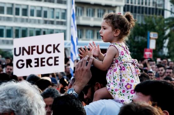 Juni 2015, betoging in Athene nadat de regering plooide voor de Europese besparingsmaatregelen. Foto Jan Wellman, Flickr