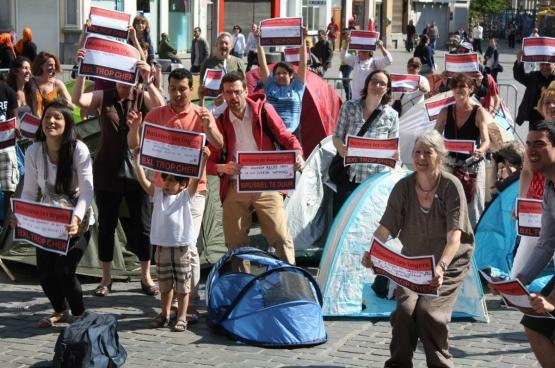 De PVDA voert al jaren actie voor lagere huurprijzen. (Foto PVDA Brussel)