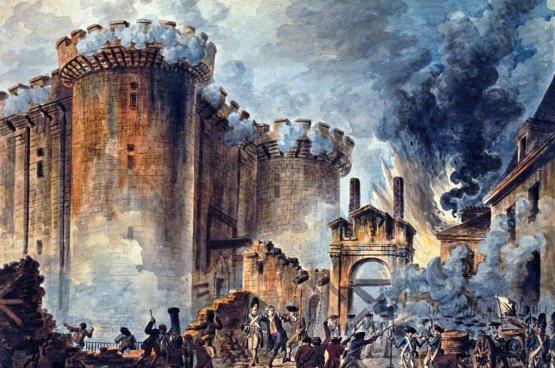 """⊳ De verovering van de Bastille door het volk was een symbolisch moment. (""""La prise de la Bastille"""", door Jean-Pierre Houël, 1789)"""