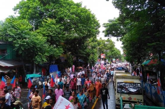 Betoging tegen de annexatie van Kasjmir op 7 augustus, een initiatief van de linkse partijen in India. (Foto CPI(M))