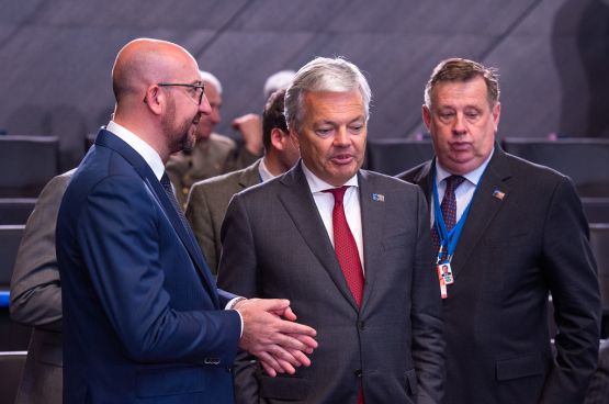 Charles Michel (links) en Didier Reynders (tweede links) - Foto, NATO