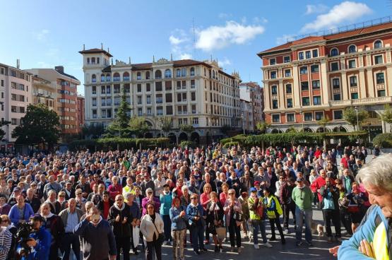 Betoging op maandag 21 oktober in Barakaldo bij Bilbao. (Foto: Coordinadora Estatal por la Defensa del Sistema Público de Pensiones)