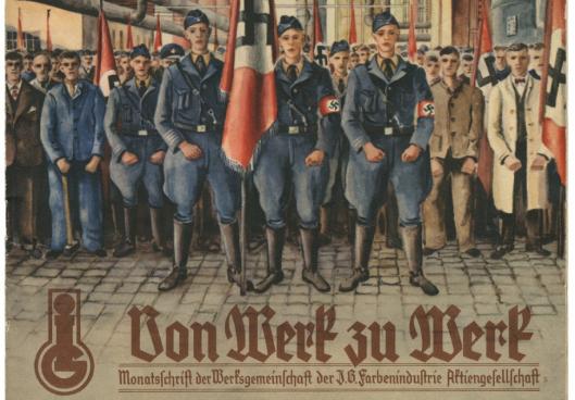 Het bedrijfsmagazine van IG Farben met prominent nazi's op de cover. De onderneming richtte samen met de SS een gigantische biochemische fabriek op in Auschwitz.(Foto R.V.)