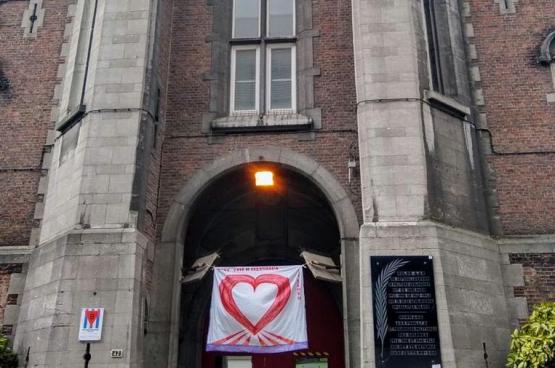 In Antwerpen hingen gedetineerden spandoeken uit om de cipiers te bedanken. (Foto: Alle rechten voorbehouden)