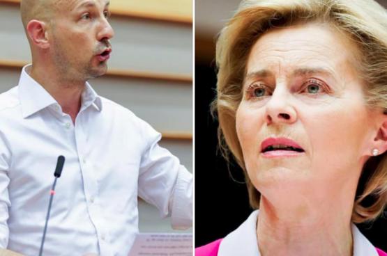 Marc Botenga, europarlementslid PVDA (links) en Ursula von der Leyen, voorzitter Europese Commissie (rechts). (Foto Europese Unie)