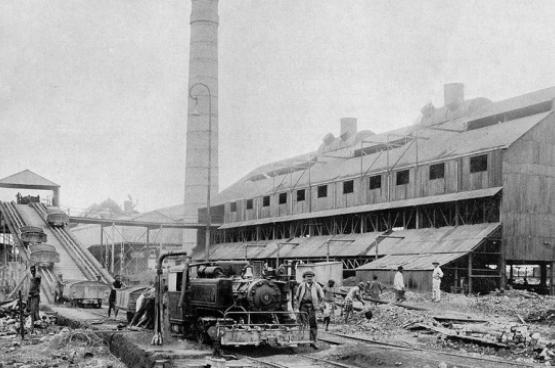 Mijnbedrijf van de Union Minière du Haut-Katanga in Elisabethville, 1917