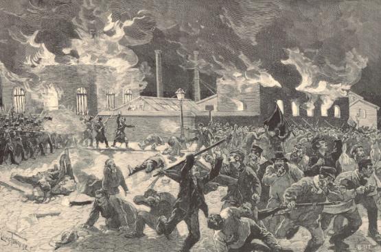 Op zaterdag 27 maart 1886 trekken stakers die een beter loon eisen naar Roux. Ze zijn met 700. Leopold II zendt het leger om de beweging, die zich over het hele land heeft verspreid, te breken. De troepen openen het vuur en doden die dag 19 arbeiders.