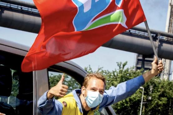 In 2020 staakten de arbeiders van Tata Steel 24 dagen. Ze haalden zowat al hun eisen binnen. (Foto Facebook FNV TataSteel)