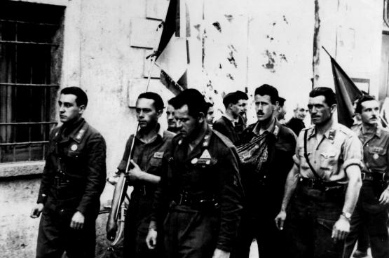 Italiaanse partizanen bij de bevrijding (Foto Carlo-Maria)