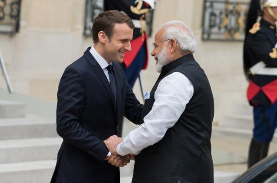 De Franse president Macron en de Indiase premier Modi (Foto Frédéric Legrand)