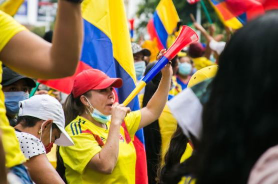 De vorige 1 mei was voor de Colombiaanse bevolking hét moment om te betogen tegen de liberale hervormingen van de regering. (Foto Juan Gonzalez)
