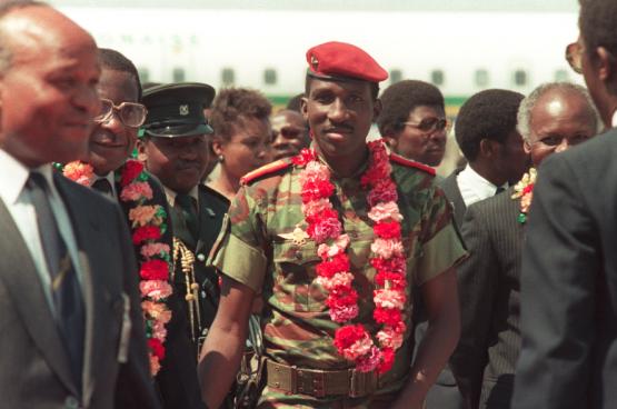 President Thomas Sankara in 1986, een jaar voor zijn moord. (Foto AFP)